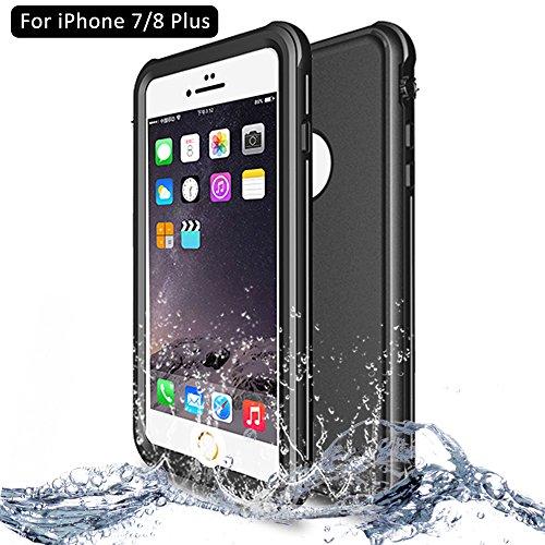 NewTsie iPhone 7/8 Plus Wasserdicht Stoßfest Hülle, IP68 Zertifiziert Schutzhülle Staubdicht mit Eingebautem Displayschutzfolie für iPhone 7/8 Plus 5.5 inch (P-Schwarz)