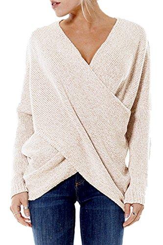 Yoins maglione da donna top maglione lavorato a maglia per donne autunno inverno manica lunga con v-collo orlo irregolare beige xl