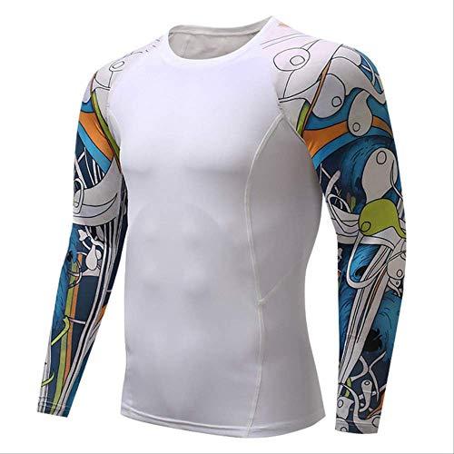 Männer Komprimiert 3D Blume Arm Langarm Fitness Körper Männer Crossfit T-Shirt Strumpfhosen Marke Clothin XL -