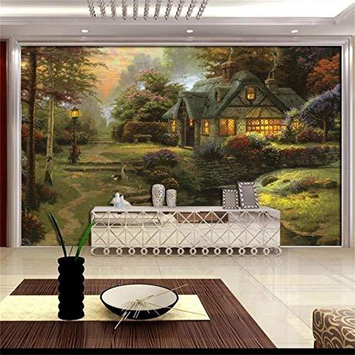 Abihua Wandbilder 3D Fototapete Benutzerdefinierte Mural Wohnzimmer Ölgemälde Szenische Hütte Hause Tv Hintergrundbild Für Wände 3D 200Cm X 100Cm