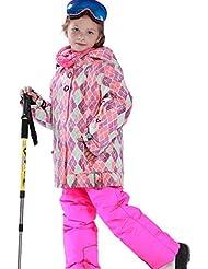 emansmoer Enfants Filles Ensemble de ski Outdoor Sport Veste de snowboard Coton rembourré Doublé polaire Manteau avec Salopettes Pantalons de neige