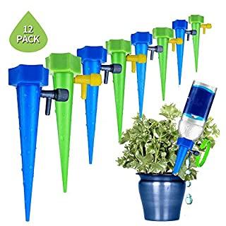 A+ Plant Waterer Self Watering Spikes System With Slow Release Control Valve Switch Automatic Vacation Drip Irrigation Watering Devices Care Your Indoor & Outdoor Home Office Plants (6packs)