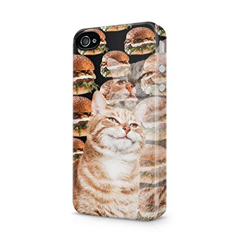 Maceste Ginger Cat Thinks About Juicy Burger Kompatibel mit iPhone 4 / iPhone 4S SnapOn Hard Plastic Phone Protective Fall Handyhülle Case Cover (Adorable Iphone 4s Fällen)