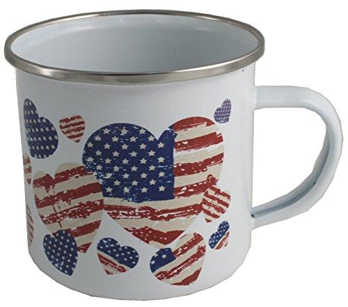 (USA AMERICAN flagge Emaille Tasse Geschenk)