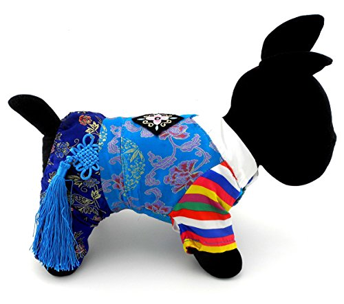 zunea traditionellen koreanischen koreanische Tracht Kostüm für kleine Hund Katze Halloween bestickte Seide, PET PUPPY Coat Jumpsuit Kleidung Kleidung, Outfits (Classic Kostüme Halloween Piraten)