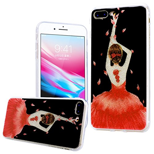 """WE LOVE CASE iPhone 8 Plus Hülle Glitzern Transparent Durchsichtig Farbe iPhone 8 Plus 5,5"""" Hülle Silikon Weich Diamond Handyhülle Tasche für Mädchen Elegant Backcover , Soft TPU Flexibel Case Handyco flower girl"""