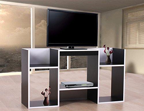 PEGANE Table TV avec étagères en Bois 109 x 59 x 30 cm, Noir
