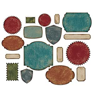 Sizzix 660060 Thinlits Set de 17 Matrices Etiquettes de Tim Holtz Gris