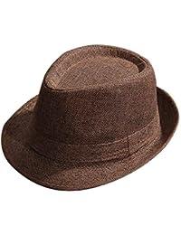 Moda Uomo Primavera Estate Moda Cappello di Paglia Trilby Classiche Cappello  Pa 9336aaed6473
