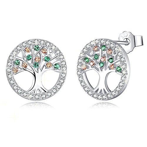 Mega creative jewelry orecchini da donna albero della vita in argento 925 con cristalli swarovski