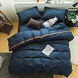 AZSUR Reine Baumwolle vierteiliges Set, Einfache und Reine Farbe, Nordische Baumwolle, 1.5 * 2.0m, Blues