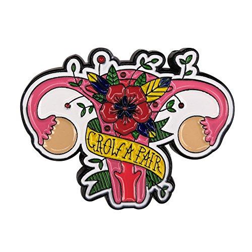 Gudeke Grow Un par de ovarios Pin de esmalte Mujeres Útero Insignia Feminista Broche
