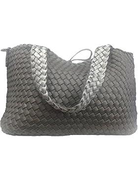 Wendetasche in Flecht-Optik, Shopper Tasche, Handtaschen Set, 2 Taschen, Bag in Bag, Schultertasche