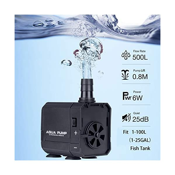 WISBUY Fish Tank Filter Aquarium Internal Filter 4 in 1 Adjustable Submersible Water Pump Fountain Air Pump(fit 30-150L…
