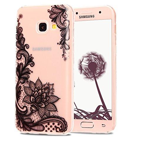 "Case für Samsung A3 2017, CaseLover Fashion TPU Case für Samsung Galaxy A3 2017 SM - A320F/DS 4.7"" Mode Flexible Soft Hülle Cover Schützende Anti Scratch Thin Transparent Silikon Cover, Spitze Blume"