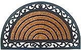 matches21 Fußmatte Fußabstreifer Kokos gestreift halbrund mit Gummirahmen 45x75x1,5 cm rutschfest