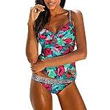 Ouneed- Bikini Damen, Damen Tankini Set Push Up Tankini Blumen Print mit Bügel Tankini (Grün, XL)