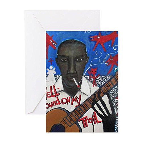 CafePress–Robert Johnson–Grußkarte, Note Karte, Geburtstagskarte, innen blanko, matt - Vintage Schwarz Folk Art