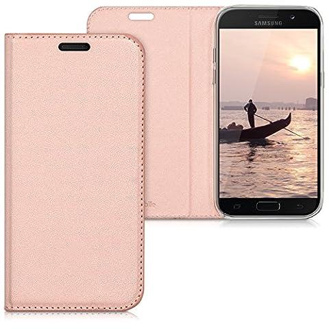 kwmobile Flip cover pour Samsung Galaxy A5 (2017) en or rose avec revêtement en cuir synthétique et ouverture