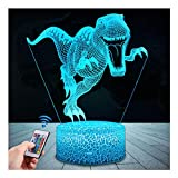 LED Lámpara de Mesa 3D Dinosaurio con Control Remoto Sensor Tacto, USlinsky Regulable Lámpara de Noche de Atmósfera Modo RGB, Decoracion Cumpleaños, Navidad Regalos de Mujer Bebes Hombre Niños Amigas