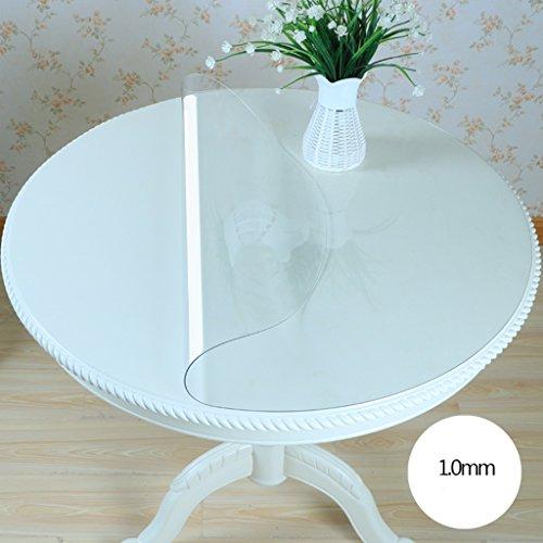 Nappe ronde en verre souple de PVC imperméable à l'eau et imperméable à l'eau Transparent transparent matelas nappe Table Nappe de table ronde ( taille : 90*90cm )