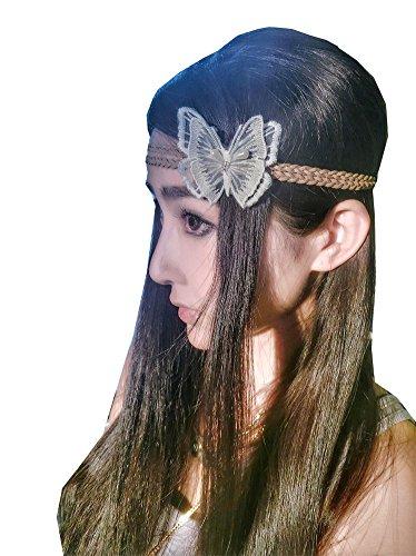 Spitze Schmetterling Stirnband für Abendkleider Halloween (Weiß) (Halloween-stirnbänder)