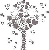 GRAZDesign 850113_30_090 Wandtattoo Liebesvögel mit Herzen und Swarovski Kristallen | Wand-Aufkleber als Deko Wohnzimmer (30x30cm//090 Silbergrau//Swarovski Elements Set 12 Stück)
