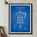 Poster,Coffee Pot Posters and Prints,Poster Coffee Blueprint Art Picture Canvas Painting Kitchen Wall Art Decor B 16X20Inch(40X50Cm)