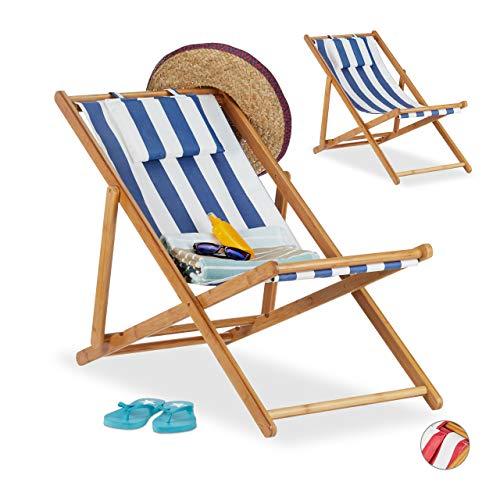 Relaxdays Liegestuhl im 2er Set, Klappliegestuhl aus Bambus, Stoffbezug mit Kissen, faltbar, für Garten & Balkon, blau