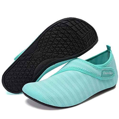 Deevike Wasserschuhe Barfuß Yoga Aqua Socken Schnell Trocknen Schwimmschuhe für Damen Herren Hellblau Straps 40/41