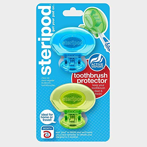 Steripod Zahnbürstenschutz zum Aufstecken, Blau, Grün, schützt vor Seife, I Dirt I Hair I Sand I für Reisen, Zuhause, Camping - Bleiben Sie frisch