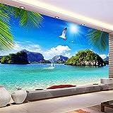 Guyuell 3D Stroh Vlies Benutzerdefinierte Mural Tapete Rolle Stereoskopische Natur Blau Ozean Meerblick Strand Foto Wand Abdeckung Tv Sofa Hintergrund-300Cmx210Cm