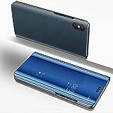 SaKuLa Hülle Huawei P20 Pro, [Ultra Slim] Mirror Flip Case Schutzhülle Spiegel Kview Ledertasche mit Glitzer Backcover,PU Klapphülle Folio Kunstledere [Standfunktion],Blau