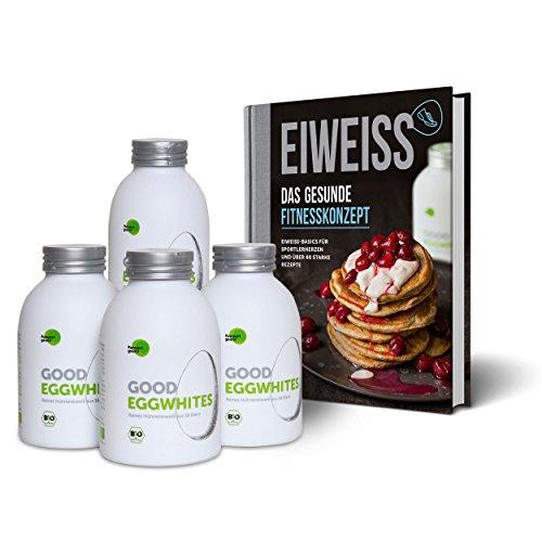 Eiweiß-Paket Gesunde Fitness: 4 Flaschen Good Eggwhites (Bio-Eiklar) & das...
