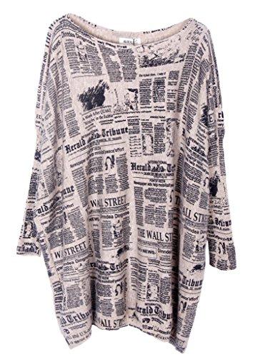 Bigood Pull Grande Taille Femme Sweat Mi-long Col Rond Sweat-shirt Manche Longue Casual Chaud Abricot #F