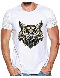 Abbigliamento Uomo Maglietta da Uomo Estate Manica Corta Camicetta Top da  Uomo a Maniche Corte con Stampa 3D Gufo Geometrica Bianca O… 956b5cf1d2c