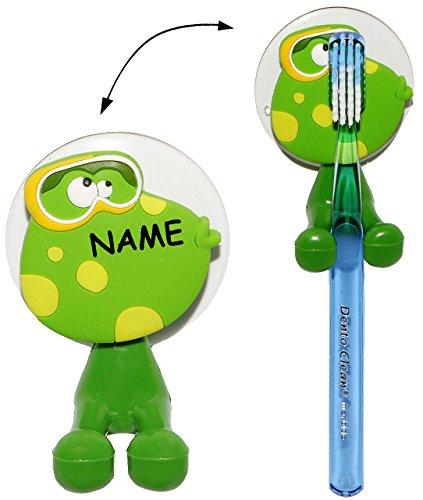 Preisvergleich Produktbild Zahnbürstenhalter - lustiger Frosch - incl. Name - mit Saugnapf - für die Zahnbürste - Halter / Halterung - Badezimmer Bad - für Kinder Baby & Erwachsene ..