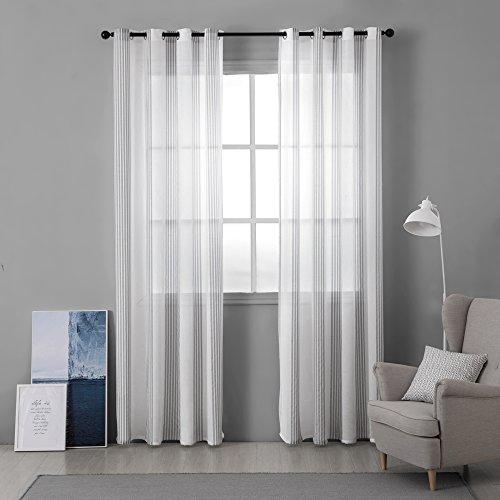 Miulee lino voile tenda finestra con occhielli tenda a pannello tende a vela trasparente per soggiorno e camera da letto 2 pezzo set bianco+gessato grigio 140 * 260cm