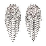 AZUO Fashion Women Es Bekleidung Long Tassel Mosaik Gestüt Ohrring Persönlichkeit Ohrring Stud Schmuck,B