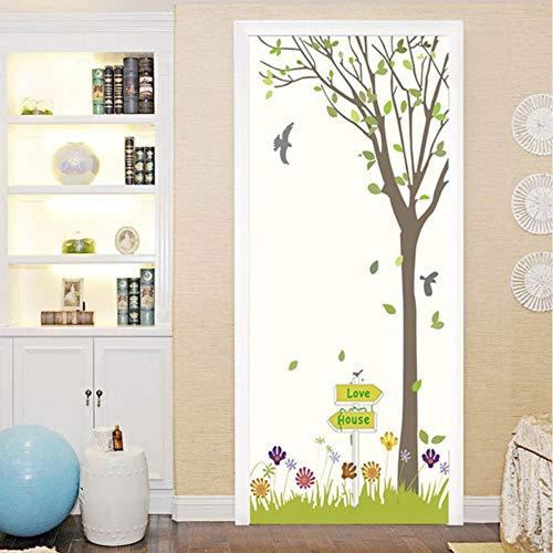 Pandaboom 3d cartoon albero fiori porta adesivo murale autoadesivo adesivo per bambini camera da letto armadio porta rinnovare decalcomania 95x215cm