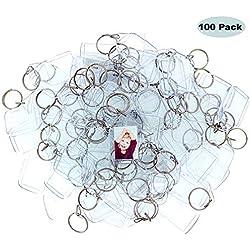 Llavero portafotos (100 Piezas) - Llaveros Personalizados con Foto Acrílico Transparente 4,5 x 3,5 cm - Llaveros para Fotos Metacrilato para Niños, Hombres y Mujeres - Regalo Bodas Bricolaje