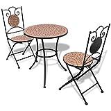 Lingjiushopping Set Tisch und Stühle-Garten ¨ ªn mit Mosaik 60cm terracotta Maße Tisch: 60x 70cm (? X Höhe)