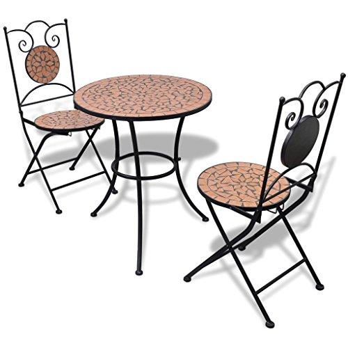 Furnituredeals Bistrotisch 60cm mit Mosaik und 2Stühle Farbe Terracotta.Dieses Set von hoher...