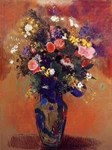 Peinture à l'huile - 18 x 24 inches / 46 x 61 CM - Odilon Redon - Bouquet dans un vase persan
