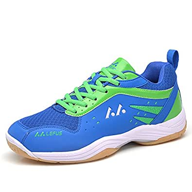 ASHION Damen Hallensportschuhe/Badminton-Schuhe Herren Squashschuhe Herren Badminton Schuhe Kinder Leicht Sportschuhe Turnschuhe (37 EU, Gelb)