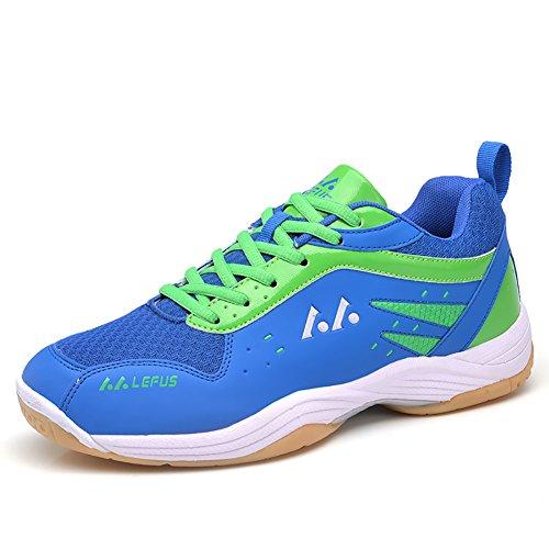 ASHION Damen Hallensportschuhe/Badminton-Schuhe Herren Squashschuhe Herren Badminton Schuhe Kinder Leicht Sportschuhe Turnschuhe (43 EU, Blau)