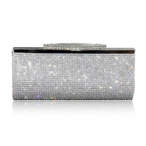 Braut Geld-beutel (Mode-Frauen Funkeln-Handtasche Kristall-Diamante Sparkly Silber-Gold-Schwarz-Abend-Braut-Abschlussball-Partei-Handtaschen-Geldbeutel (Silber))