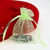 ugrato 100pcs Pochette De Cadeaux Organza Sac De Bijoux Pochette D'Aromathérapie Coloré - Vert Lime