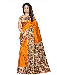 Ishin Poly Silk/ Blended Mysore Silk Mustard Yellow Kalamkari Printed Women's Saree/ Sarii