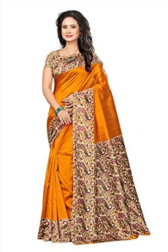 Winza Designer Silk Saree With Blouse Piece (KALAMKARI-K50_Latest Orange_Free)